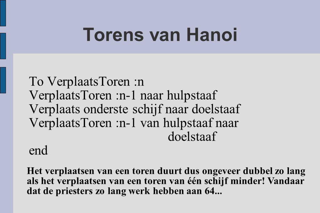 Torens van Hanoi To VerplaatsToren :n VerplaatsToren :n-1 naar hulpstaaf Verplaats onderste schijf naar doelstaaf VerplaatsToren :n-1 van hulpstaaf na