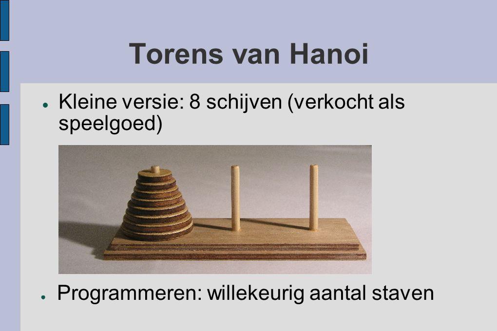 Torens van Hanoi ● Kleine versie: 8 schijven (verkocht als speelgoed) ● Programmeren: willekeurig aantal staven