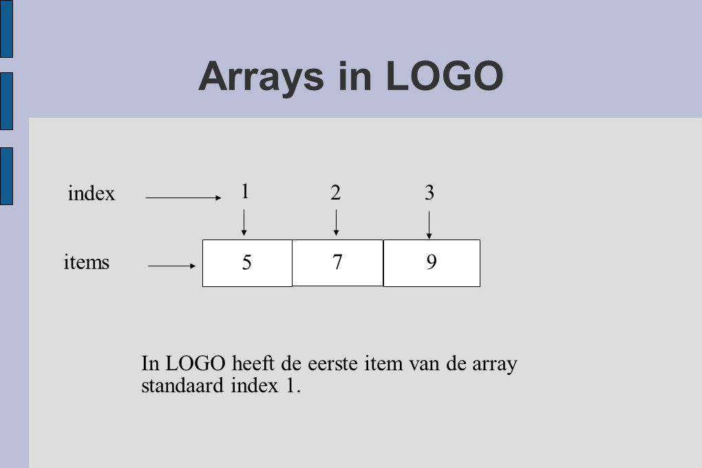 Arrays in LOGO 5 7 9 1 23 index items In LOGO heeft de eerste item van de array standaard index 1.