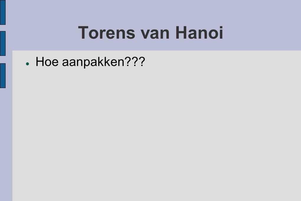 Torens van Hanoi ● Hoe aanpakken???