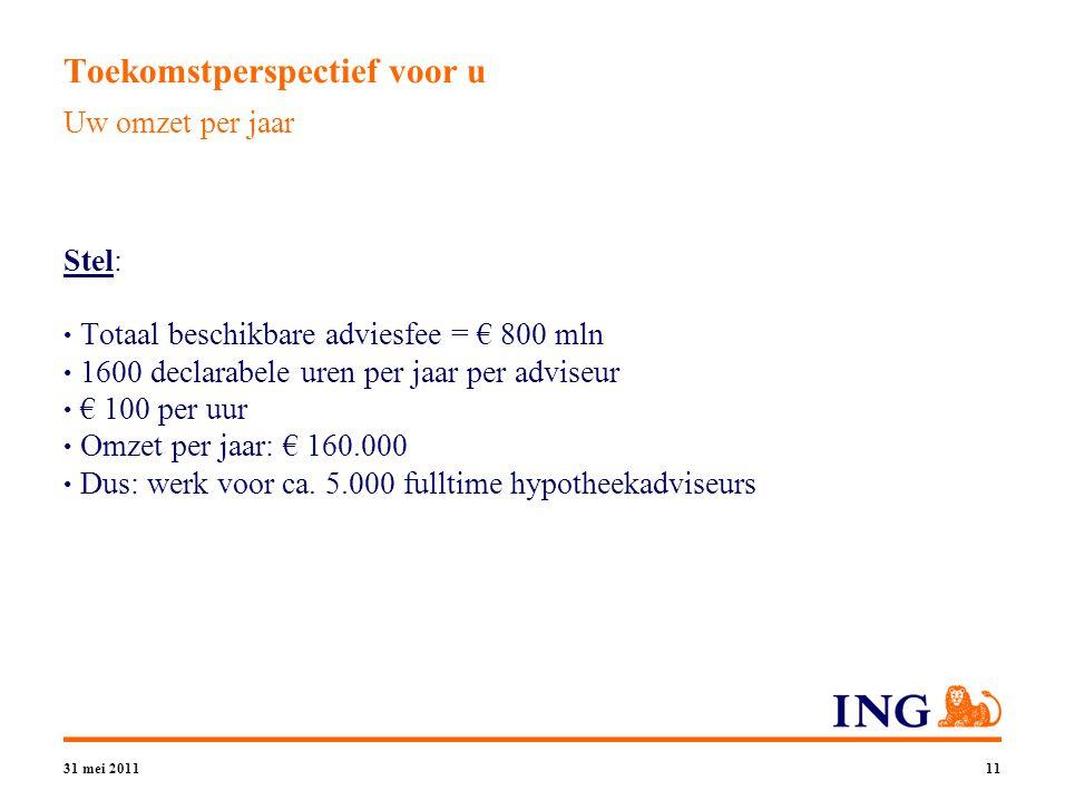 31 mei 201111 Toekomstperspectief voor u Stel: Totaal beschikbare adviesfee = € 800 mln 1600 declarabele uren per jaar per adviseur € 100 per uur Omzet per jaar: € 160.000 Dus: werk voor ca.