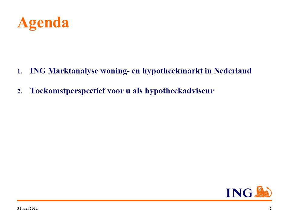 31 mei 20112 Agenda 1. ING Marktanalyse woning- en hypotheekmarkt in Nederland 2.