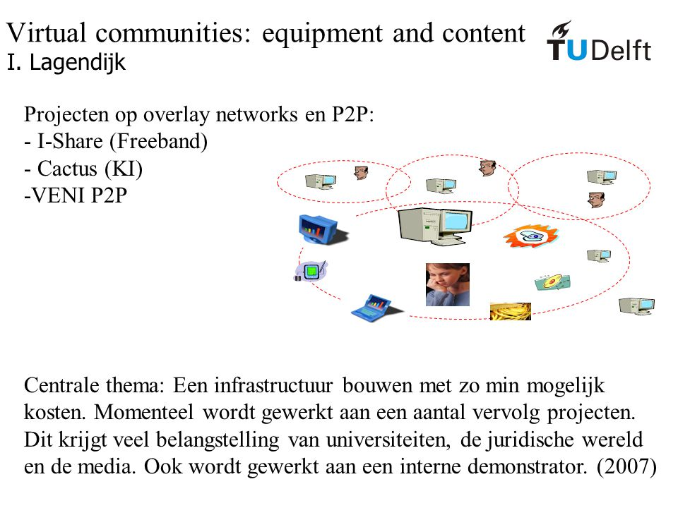Virtual communities: equipment and content I. Lagendijk Projecten op overlay networks en P2P: - I-Share (Freeband) - Cactus (KI) -VENI P2P Centrale th