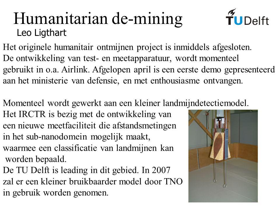 Humanitarian de-mining Leo Ligthart Het originele humanitair ontmijnen project is inmiddels afgesloten. De ontwikkeling van test- en meetapparatuur, w