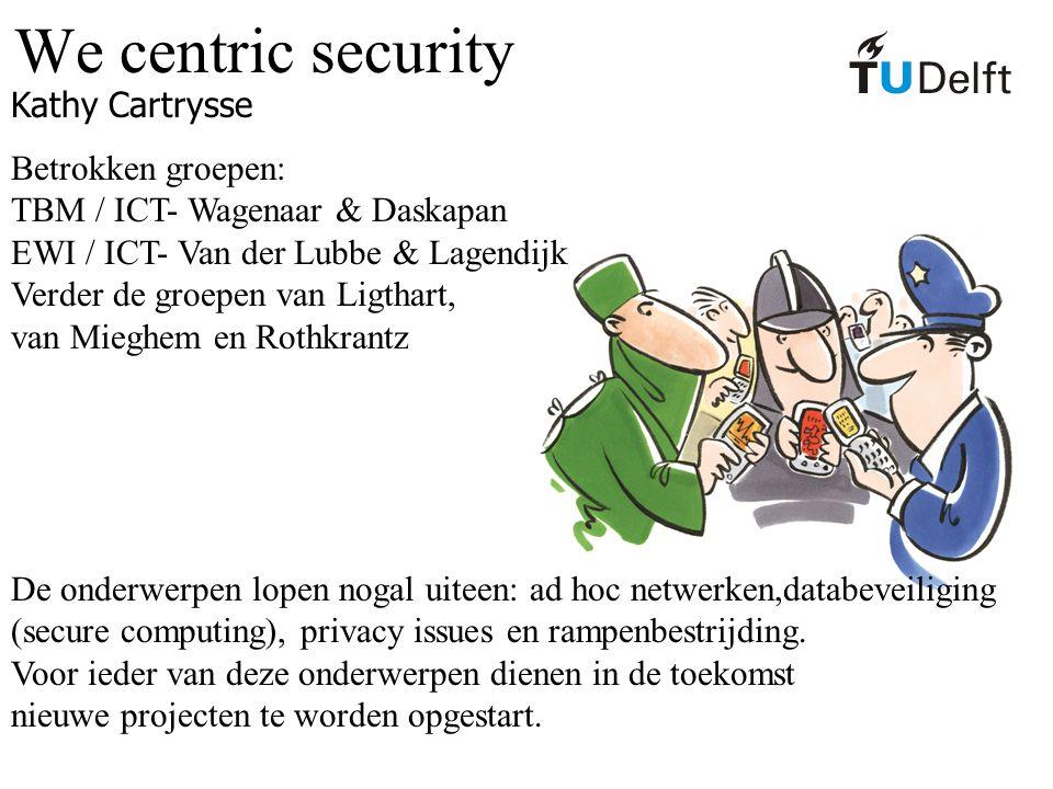 We centric security Kathy Cartrysse Betrokken groepen: TBM / ICT- Wagenaar & Daskapan EWI / ICT- Van der Lubbe & Lagendijk Verder de groepen van Ligth