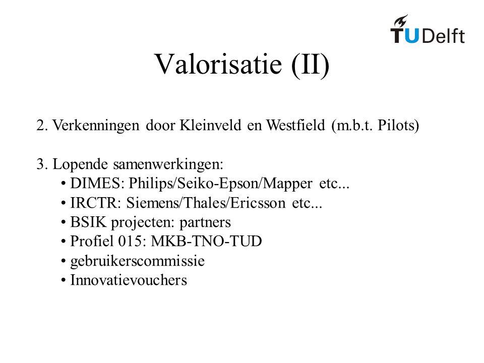 Valorisatie (II) 2. Verkenningen door Kleinveld en Westfield (m.b.t. Pilots) 3. Lopende samenwerkingen: DIMES: Philips/Seiko-Epson/Mapper etc... IRCTR