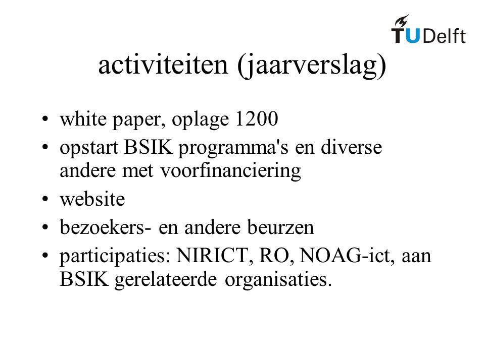 activiteiten (jaarverslag) white paper, oplage 1200 opstart BSIK programma s en diverse andere met voorfinanciering website bezoekers- en andere beurzen participaties: NIRICT, RO, NOAG-ict, aan BSIK gerelateerde organisaties.