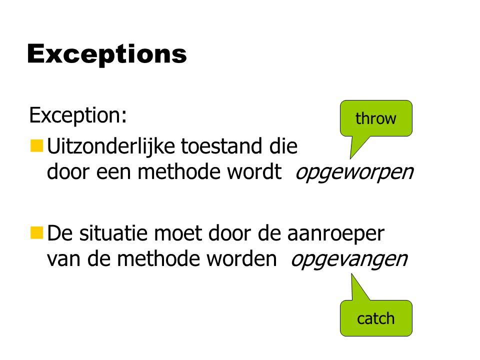 Exceptions Exception: nUitzonderlijke toestand die door een methode wordt opgeworpen nDe situatie moet door de aanroeper van de methode worden opgevangen throw catch
