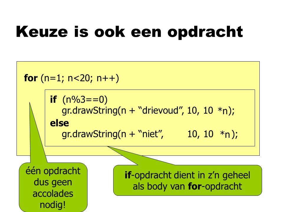 Keuze is ook een opdracht if (n%3==0) gr.drawString(n + drievoud , 10, 10 ); else gr.drawString(n + niet , 10, 10 ); for (n=1; n<20; n++) *n if-opdracht dient in z'n geheel als body van for-opdracht één opdracht dus geen accolades nodig!