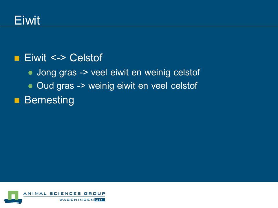 Eiwit Eiwit Celstof Jong gras -> veel eiwit en weinig celstof Oud gras -> weinig eiwit en veel celstof Bemesting