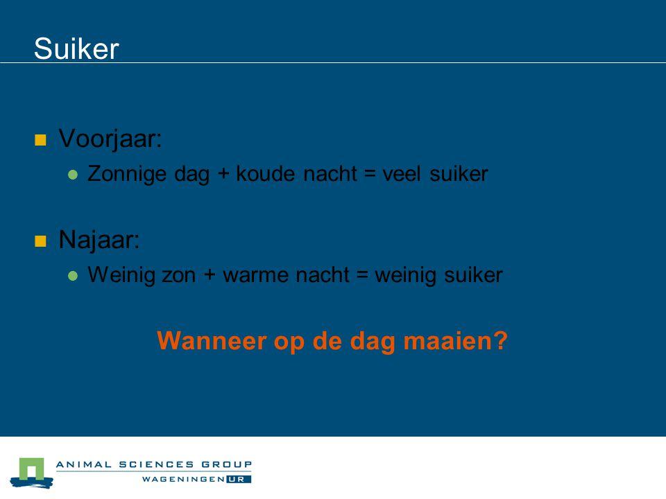 Suiker Voorjaar: Zonnige dag + koude nacht = veel suiker Najaar: Weinig zon + warme nacht = weinig suiker Wanneer op de dag maaien?