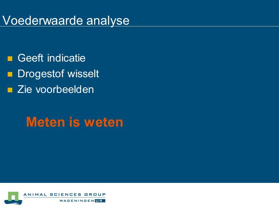 Voederwaarde analyse Geeft indicatie Drogestof wisselt Zie voorbeelden Meten is weten