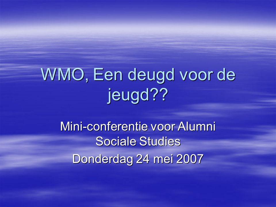 WMO, Een deugd voor de jeugd?? Mini-conferentie voor Alumni Sociale Studies Donderdag 24 mei 2007