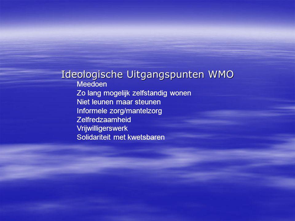 Ideologische Uitgangspunten WMO Meedoen Zo lang mogelijk zelfstandig wonen Niet leunen maar steunen Informele zorg/mantelzorg Zelfredzaamheid Vrijwilligerswerk Solidariteit met kwetsbaren
