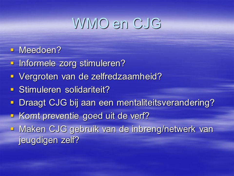 WMO en CJG  Meedoen?  Informele zorg stimuleren?  Vergroten van de zelfredzaamheid?  Stimuleren solidariteit?  Draagt CJG bij aan een mentaliteit