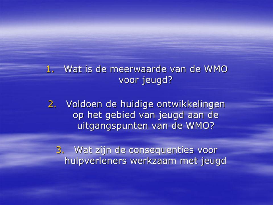 1.Wat is de meerwaarde van de WMO voor jeugd? 2.Voldoen de huidige ontwikkelingen op het gebied van jeugd aan de uitgangspunten van de WMO? 3.Wat zijn