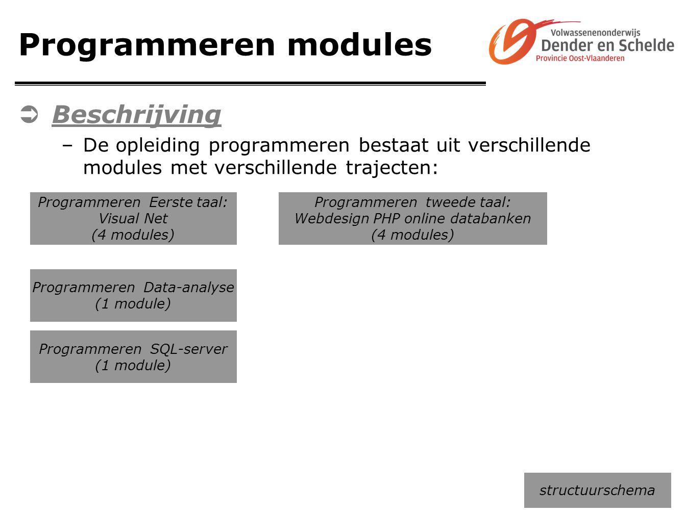 Programmeren modules  Beschrijving –De opleiding programmeren bestaat uit verschillende modules met verschillende trajecten: structuurschema Programm