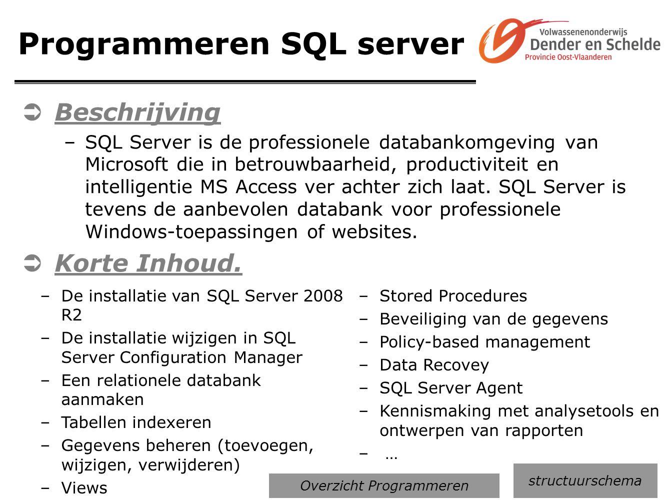 Programmeren SQL server  Beschrijving –SQL Server is de professionele databankomgeving van Microsoft die in betrouwbaarheid, productiviteit en intell