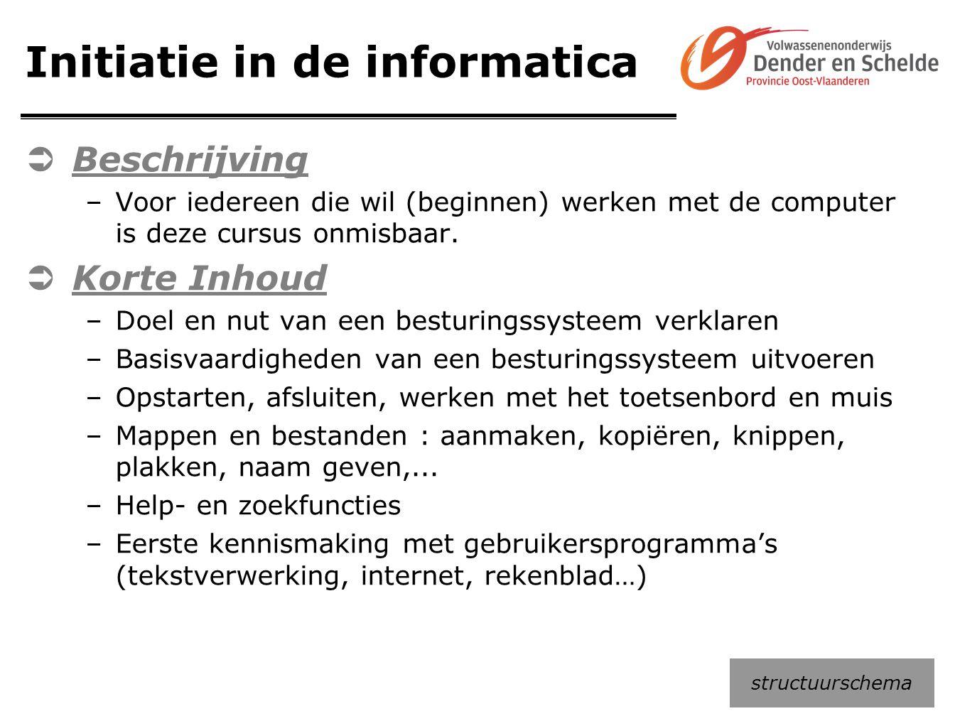 Initiatie in de informatica  Beschrijving –Voor iedereen die wil (beginnen) werken met de computer is deze cursus onmisbaar.  Korte Inhoud –Doel en
