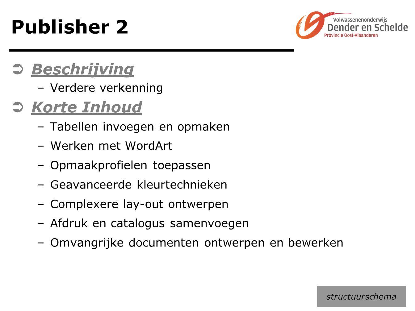 Publisher 2  Beschrijving –Verdere verkenning  Korte Inhoud –Tabellen invoegen en opmaken –Werken met WordArt –Opmaakprofielen toepassen –Geavanceer