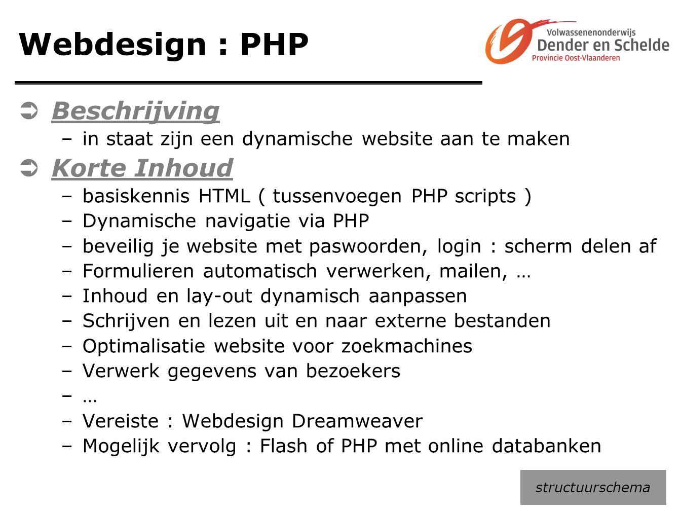 Webdesign : PHP  Beschrijving –in staat zijn een dynamische website aan te maken  Korte Inhoud –basiskennis HTML ( tussenvoegen PHP scripts ) –Dynam