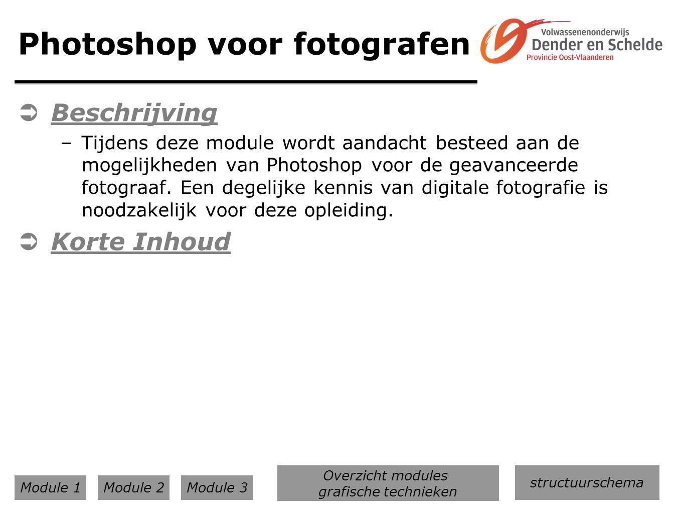 Photoshop voor fotografen  Beschrijving –Tijdens deze module wordt aandacht besteed aan de mogelijkheden van Photoshop voor de geavanceerde fotograaf