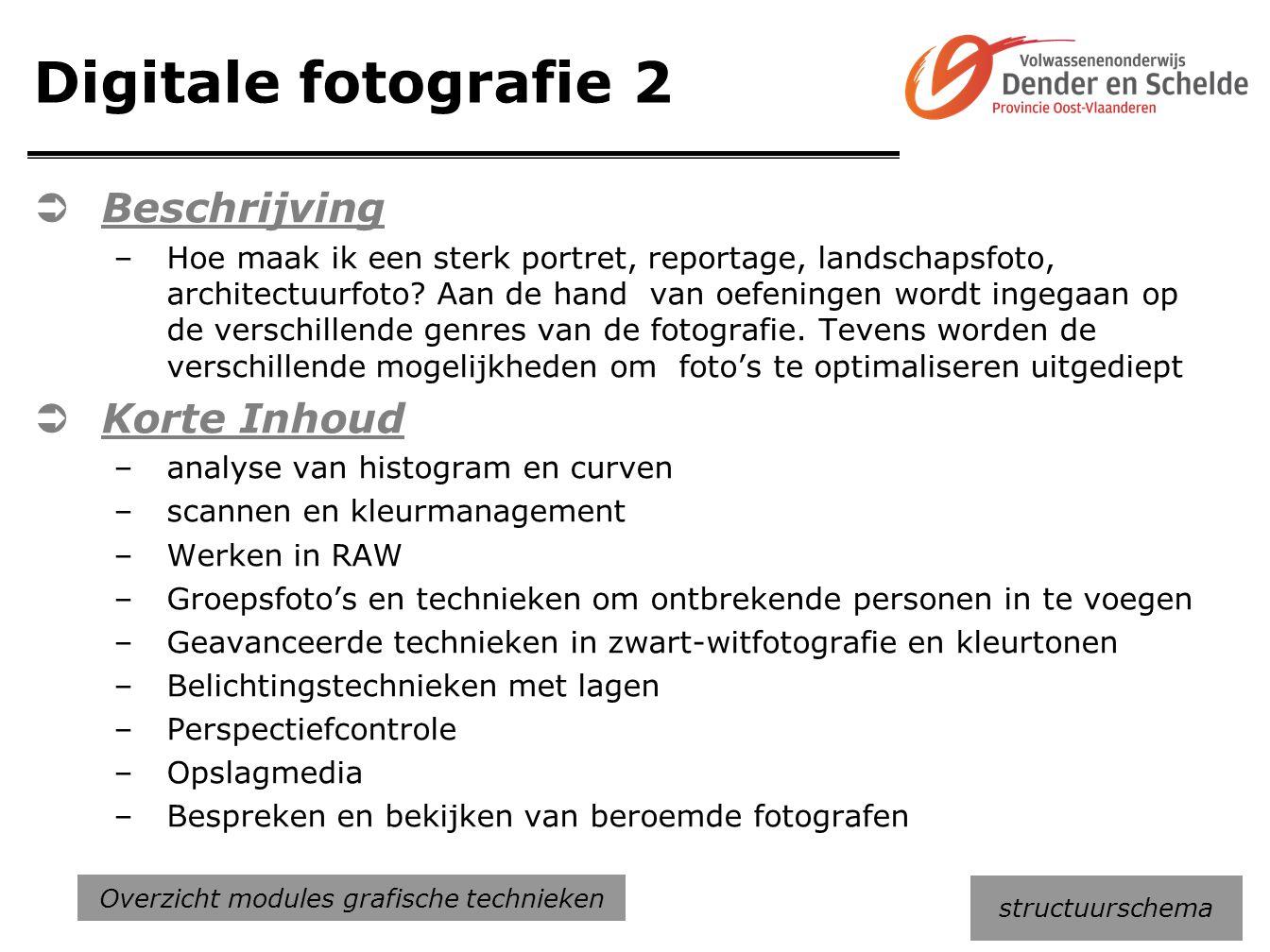 Digitale fotografie 2  Beschrijving –Hoe maak ik een sterk portret, reportage, landschapsfoto, architectuurfoto? Aan de hand van oefeningen wordt ing