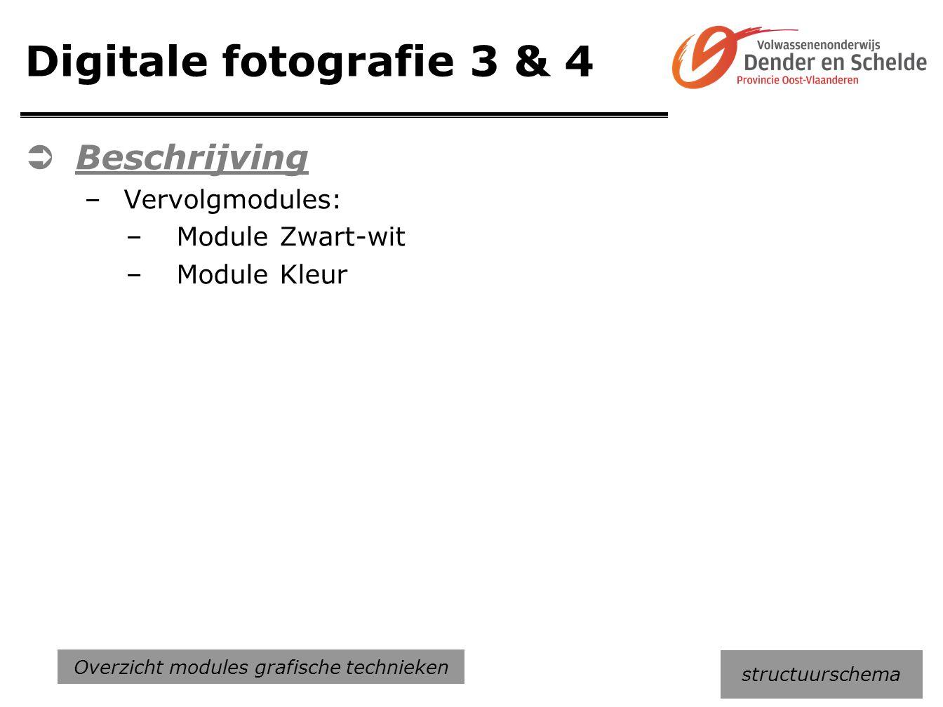 Digitale fotografie 3 & 4  Beschrijving –Vervolgmodules: –Module Zwart-wit –Module Kleur structuurschema Overzicht modules grafische technieken