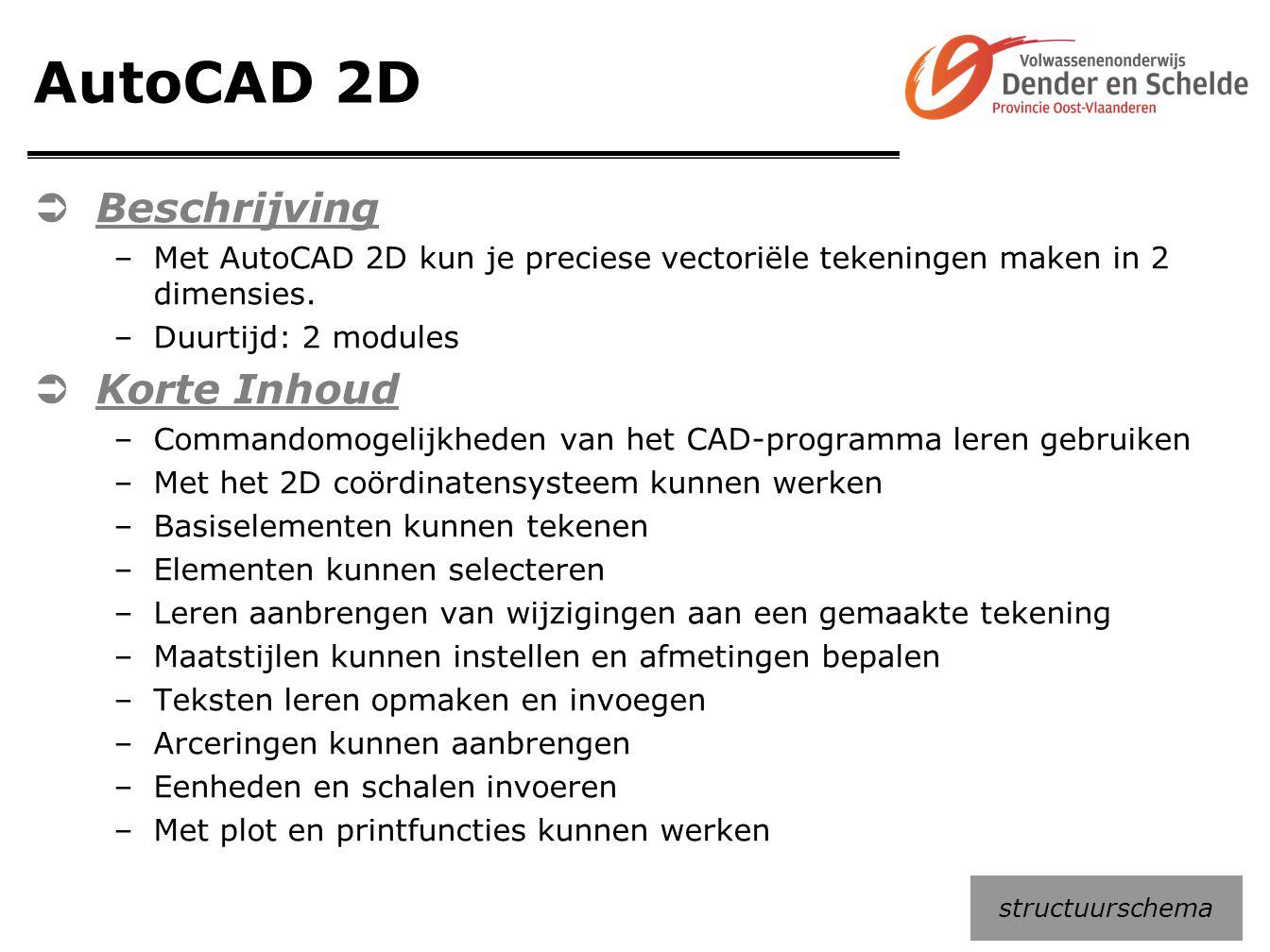AutoCAD 2D  Beschrijving –Met AutoCAD 2D kun je preciese vectoriële tekeningen maken in 2 dimensies. –Duurtijd: 2 modules  Korte Inhoud –Commandomog