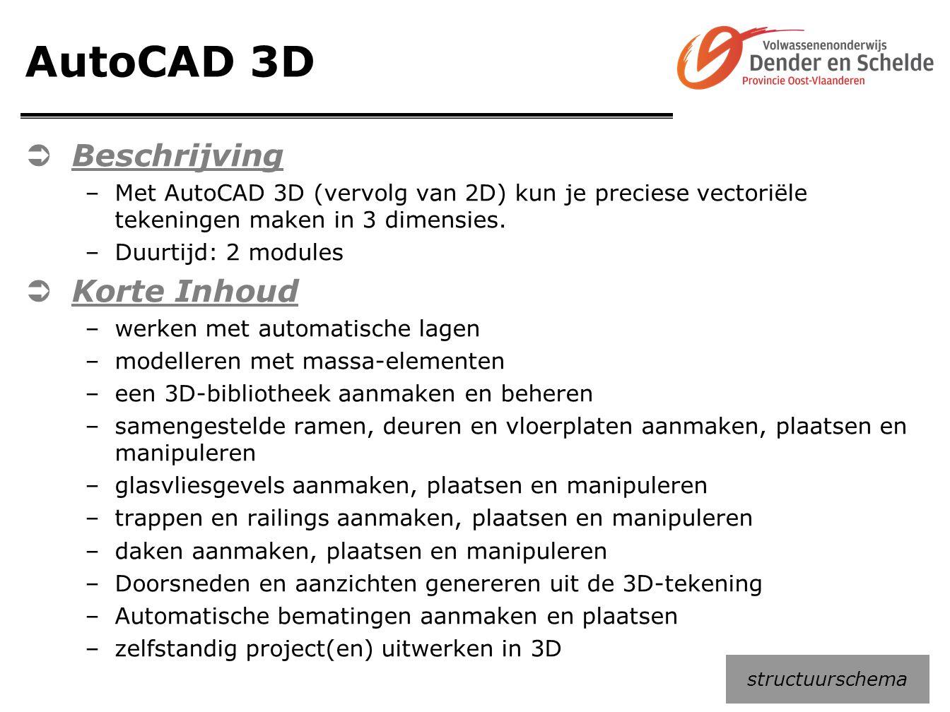 AutoCAD 3D  Beschrijving –Met AutoCAD 3D (vervolg van 2D) kun je preciese vectoriële tekeningen maken in 3 dimensies. –Duurtijd: 2 modules  Korte In