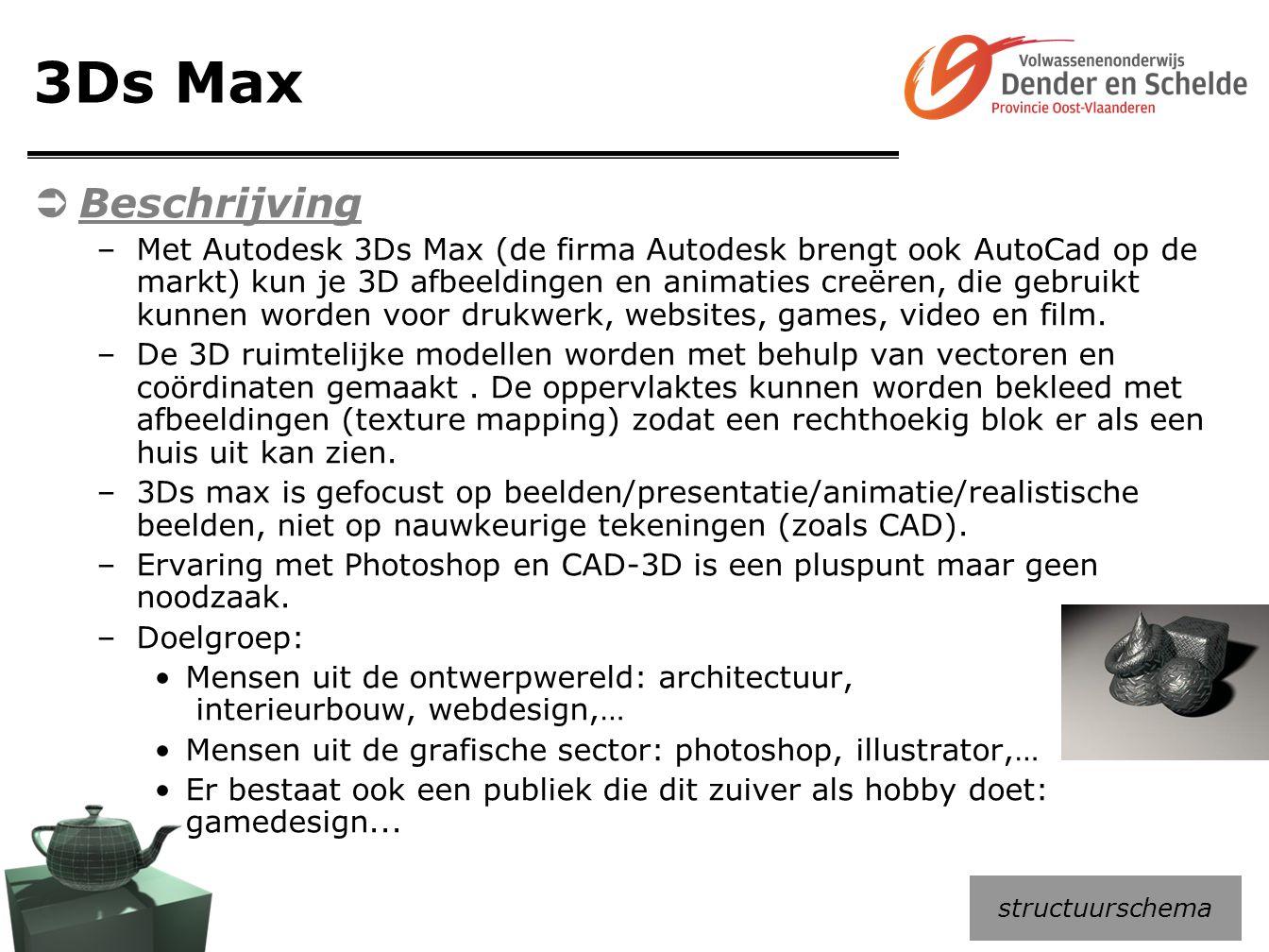 3Ds Max  Beschrijving –Met Autodesk 3Ds Max (de firma Autodesk brengt ook AutoCad op de markt) kun je 3D afbeeldingen en animaties creëren, die gebru