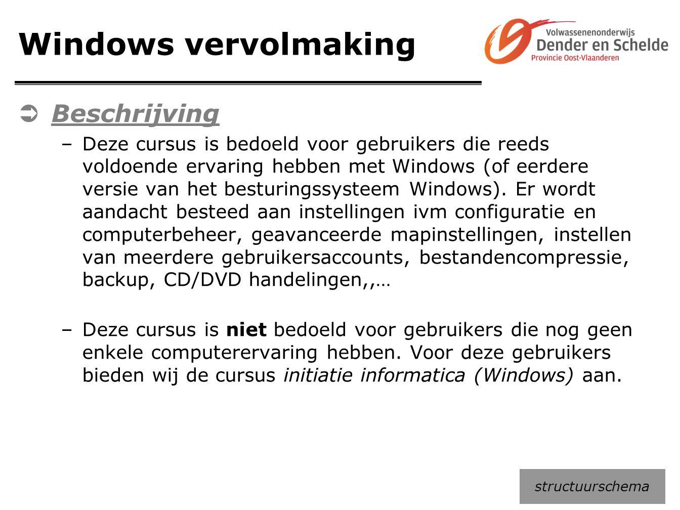 Windows vervolmaking  Beschrijving –Deze cursus is bedoeld voor gebruikers die reeds voldoende ervaring hebben met Windows (of eerdere versie van het
