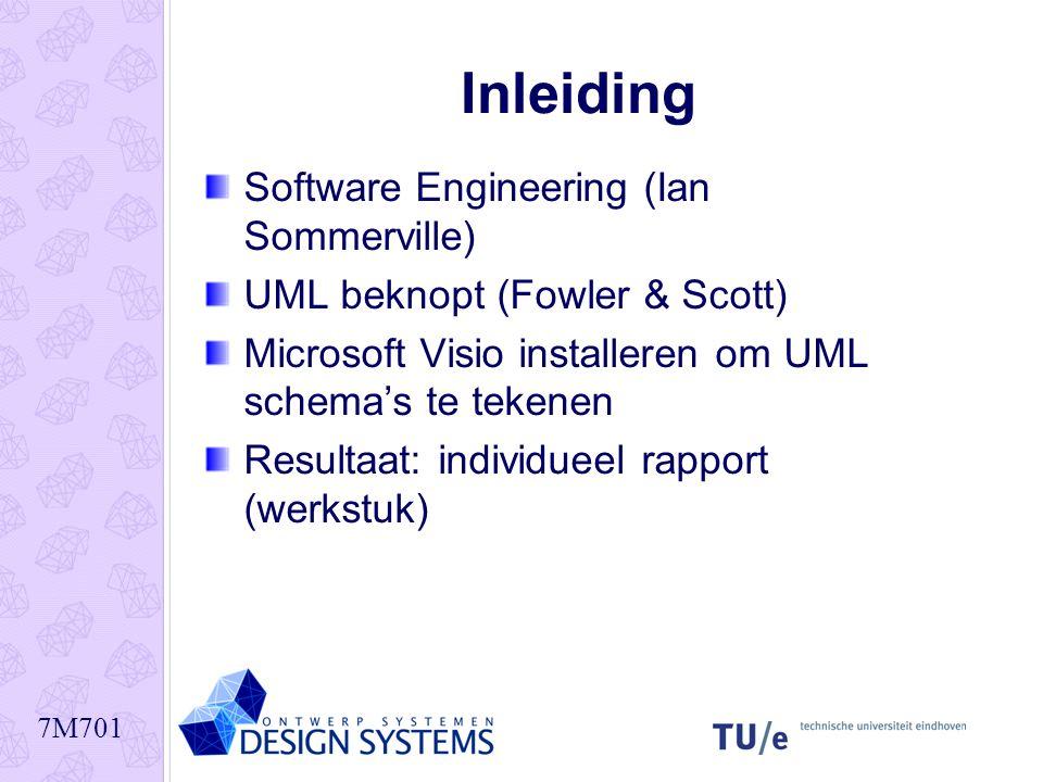 7M701 Inleiding Software Engineering (Ian Sommerville) UML beknopt (Fowler & Scott) Microsoft Visio installeren om UML schema's te tekenen Resultaat: individueel rapport (werkstuk)