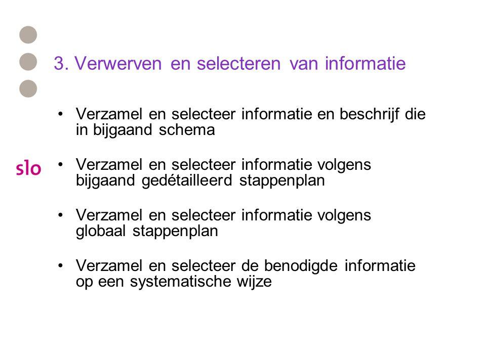 3. Verwerven en selecteren van informatie Verzamel en selecteer informatie en beschrijf die in bijgaand schema Verzamel en selecteer informatie volgen