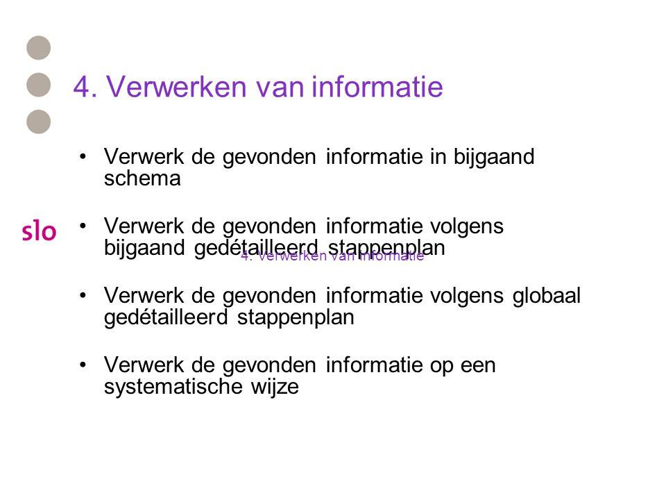 4. Verwerken van informatie Verwerk de gevonden informatie in bijgaand schema Verwerk de gevonden informatie volgens bijgaand gedétailleerd stappenpla