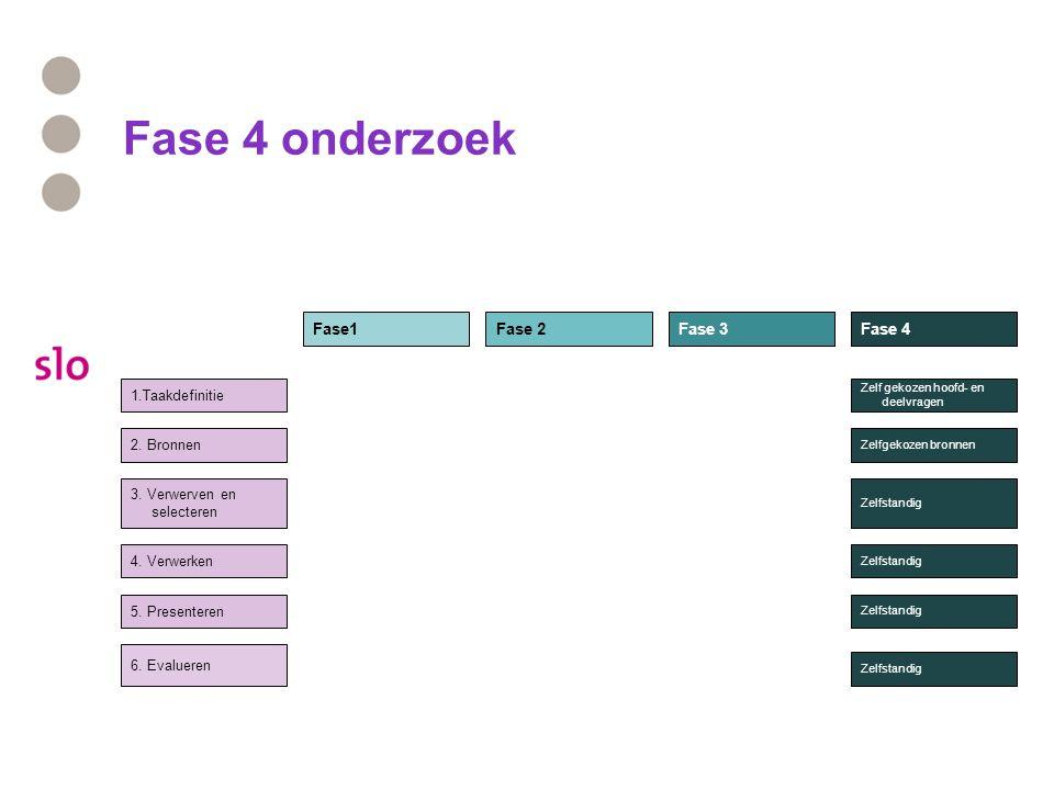 Fase 4 onderzoek 1.Taakdefinitie 2.Bronnen 3. Verwerven en selecteren 4.
