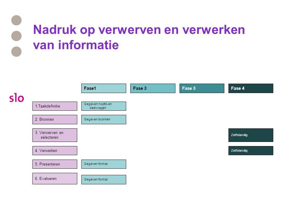 Nadruk op verwerven en verwerken van informatie 1.Taakdefinitie 2.