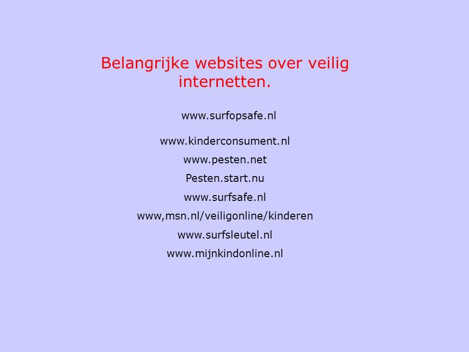 Belangrijke websites over veilig internetten. www.surfopsafe.nl www.kinderconsument.nl www.pesten.net Pesten.start.nu www.surfsafe.nl www,msn.nl/veili