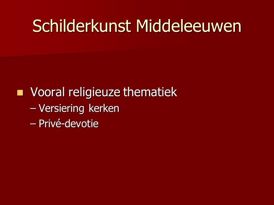 Schilderkunst Middeleeuwen Vooral religieuze thematiek Vooral religieuze thematiek –Versiering kerken –Privé-devotie