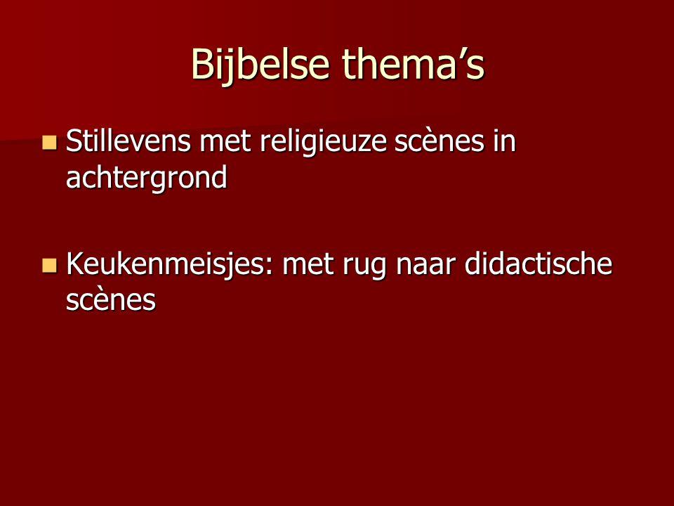 Bijbelse thema's Stillevens met religieuze scènes in achtergrond Stillevens met religieuze scènes in achtergrond Keukenmeisjes: met rug naar didactisc