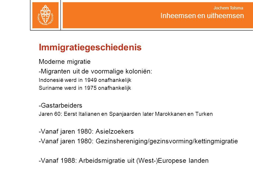 Immigratiegeschiedenis Moderne migratie -Migranten uit de voormalige koloniën: Indonesië werd in 1949 onafhankelijk Suriname werd in 1975 onafhankelijk -Gastarbeiders Jaren 60: Eerst Italianen en Spanjaarden later Marokkanen en Turken -Vanaf jaren 1980: Asielzoekers -Vanaf jaren 1980: Gezinshereniging/gezinsvorming/kettingmigratie -Vanaf 1988: Arbeidsmigratie uit (West-)Europese landen Inheemsen en uitheemsen Jochem Tolsma