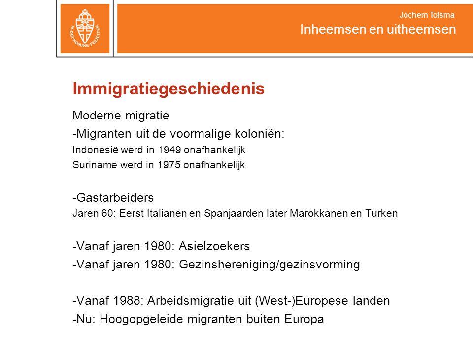 Immigratiegeschiedenis Moderne migratie -Migranten uit de voormalige koloniën: Indonesië werd in 1949 onafhankelijk Suriname werd in 1975 onafhankelijk -Gastarbeiders Jaren 60: Eerst Italianen en Spanjaarden later Marokkanen en Turken -Vanaf jaren 1980: Asielzoekers -Vanaf jaren 1980: Gezinshereniging/gezinsvorming -Vanaf 1988: Arbeidsmigratie uit (West-)Europese landen -Nu: Hoogopgeleide migranten buiten Europa Inheemsen en uitheemsen Jochem Tolsma