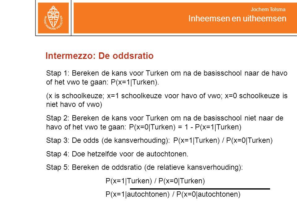 Intermezzo: De oddsratio Inheemsen en uitheemsen Jochem Tolsma Stap 1: Bereken de kans voor Turken om na de basisschool naar de havo of het vwo te gaan: P(x=1|Turken).