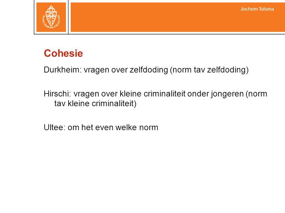 Cohesie Durkheim: vragen over zelfdoding (norm tav zelfdoding) Hirschi: vragen over kleine criminaliteit onder jongeren (norm tav kleine criminaliteit) Ultee: om het even welke norm Jochem Tolsma