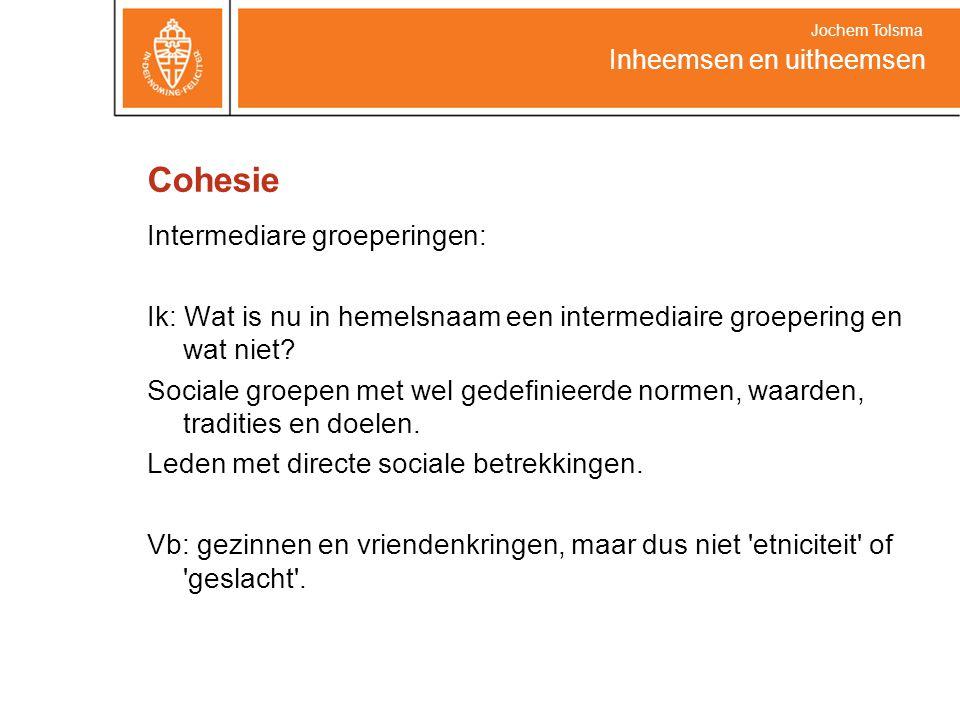 Cohesie Intermediare groeperingen: Ik: Wat is nu in hemelsnaam een intermediaire groepering en wat niet.