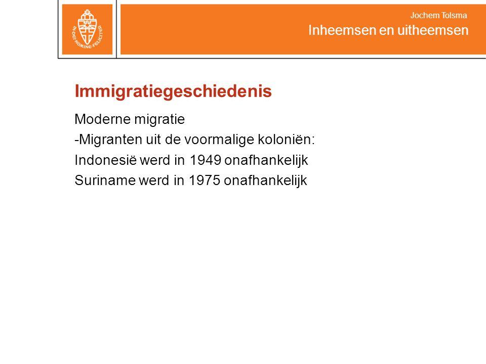 Immigratiegeschiedenis Moderne migratie -Migranten uit de voormalige koloniën: Indonesië werd in 1949 onafhankelijk Suriname werd in 1975 onafhankelijk Inheemsen en uitheemsen Jochem Tolsma