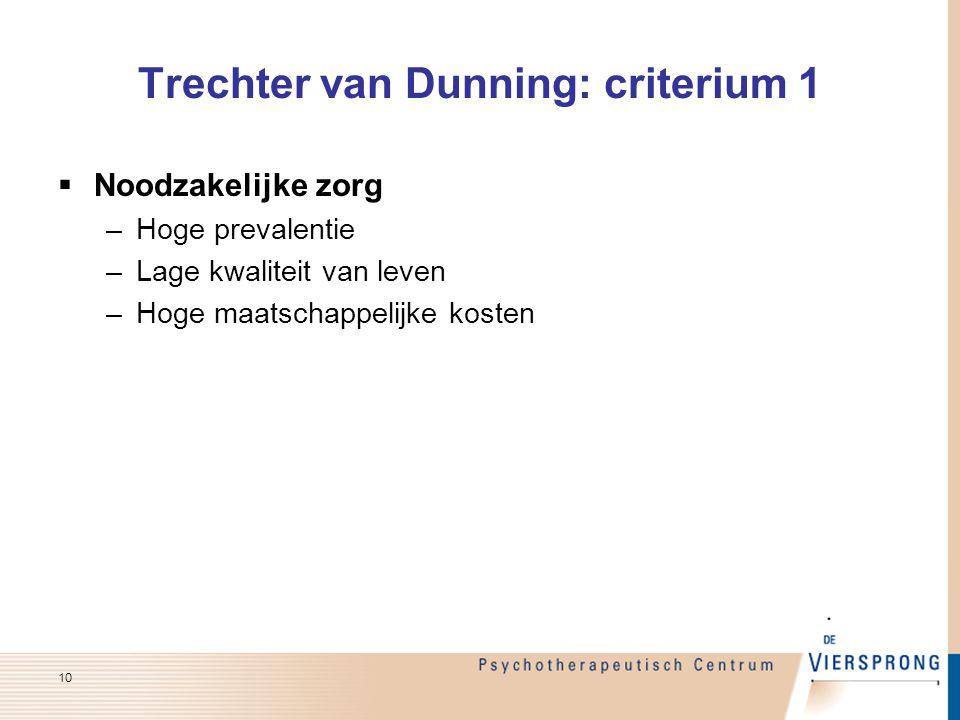 Noodzakelijke zorg –Hoge prevalentie –Lage kwaliteit van leven –Hoge maatschappelijke kosten Trechter van Dunning: criterium 1 10