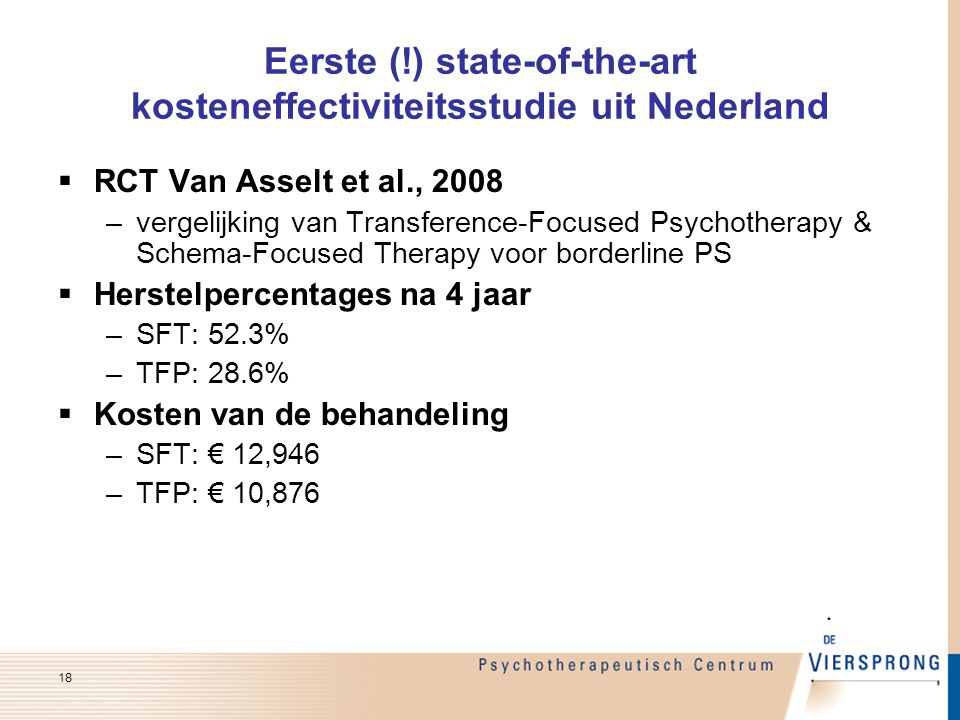 Eerste (!) state-of-the-art kosteneffectiviteitsstudie uit Nederland  RCT Van Asselt et al., 2008 –vergelijking van Transference-Focused Psychotherap