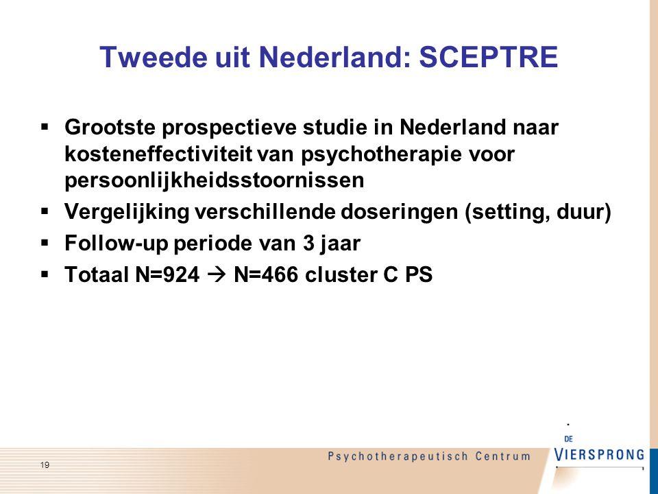 Tweede uit Nederland: SCEPTRE  Grootste prospectieve studie in Nederland naar kosteneffectiviteit van psychotherapie voor persoonlijkheidsstoornissen