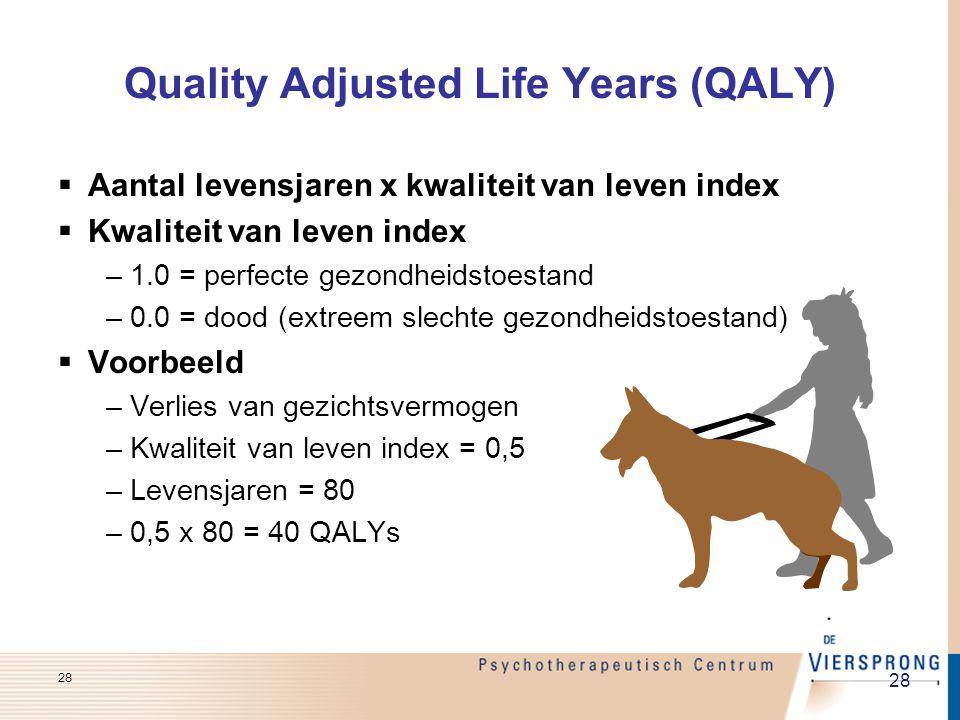  Aantal levensjaren x kwaliteit van leven index  Kwaliteit van leven index –1.0 = perfecte gezondheidstoestand –0.0 = dood (extreem slechte gezondhe